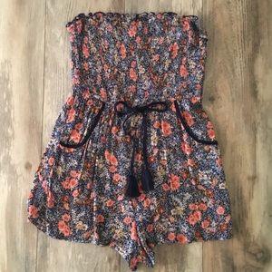 Strapless Floral Romper w/Pockets